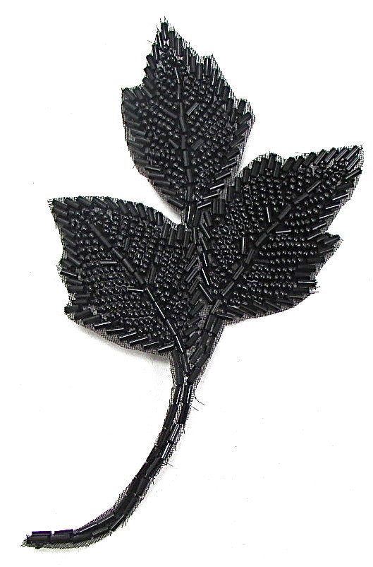 "Leaf with Black Beads 6"" X 3"""