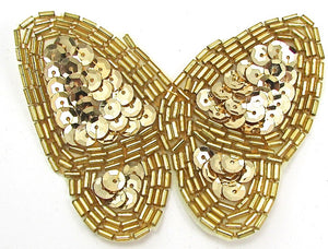 "Butterfly with Gold Sequins and Beads 2.5"" x 3.5"""