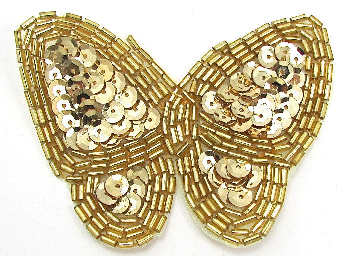 Butterfly with Gold Sequins and Beads 2.5