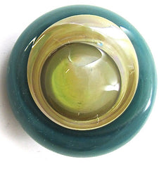 "Button Glass with Dark Green Cream and Dark Yellow in Glass 1""+"