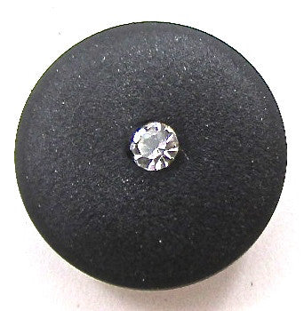 Button all Black with Tiny Rhinestone 1/2""