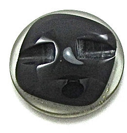 Button Black Glass with Black and Gold Flecks 7/8""