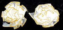 Load image into Gallery viewer, Flower Pair Cabbage Rose Organza Gold Edging 1""