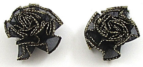 Flower Pair Black and Gold Rose 1""