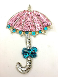 "Umbrella Pink and Turquoise Sequins and Beads 7"" x 5"""