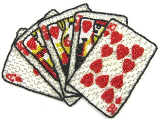 Playing Card Set with Beaded Pattern in Three Cards  5.5 x 6.5""
