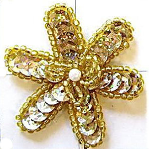 "Flower with Gold Sequins and Beads, Middle Pearl 2"" x 2"""