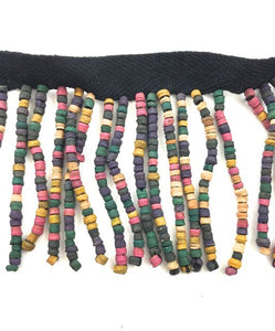 "Trim Fringe with Multi-Colored Wooden Beads 2"" Wide, Sold By Yard"