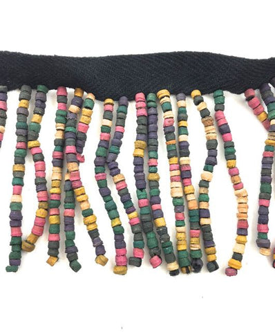 "Fringe Made out of Multi-Colored Wooden Beads 2"" Wide, Sold By Yard"