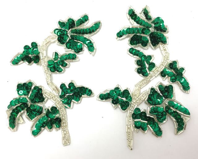 "Pair or Single, Flower with Green Sequins and Silver Beads 5"" x 4"""