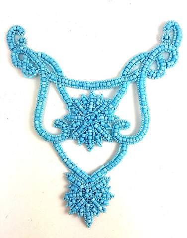 "Designer Motif Neckline with Turquoise Beads 8"" x 6"""