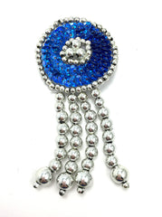 "Epaulet Circle, Choice of Color Sequins with Silver Beads 3.5"" x 1.75"""