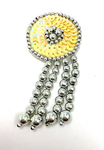 "Epaulet Circle Southwestern Style Choice of Color Sequins with Silver Beads 3.5"" x 1.75"""