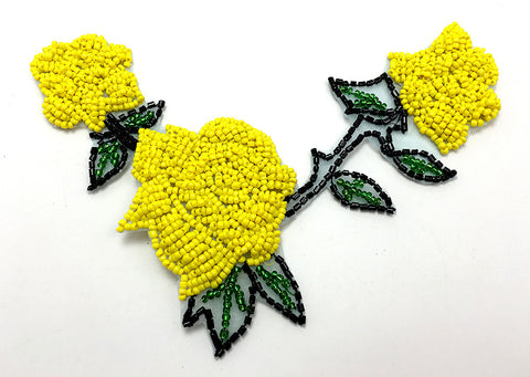 "Roses with Triple Yellow Beads, Black and Green Beads  6"" x 4.5"""