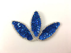 "Choice of Leaf with Spotlight Laser Light or Dark Blue Sequins and Silver Beads 3.25"" x 2.25"""