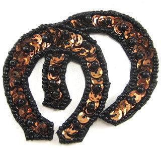 "Horseshoe Double Bronze with Blk Beads 2.5"" x 2.5"""