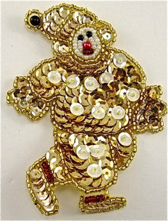 Clown with Gold and Gold Sequins 4' x 3""