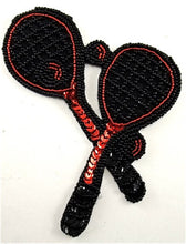 "Load image into Gallery viewer, Tennis Racquet Two  with Black and Red Sequins and Beads 5"" x 4.5"""