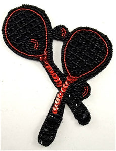 "Tennis Racquet Two  with Black and Red Sequins and Beads 5"" x 4.5"""