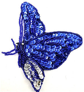 "Butterfly with Royal Blue and Silver Sequins and Beads  5.5"" x 4"""