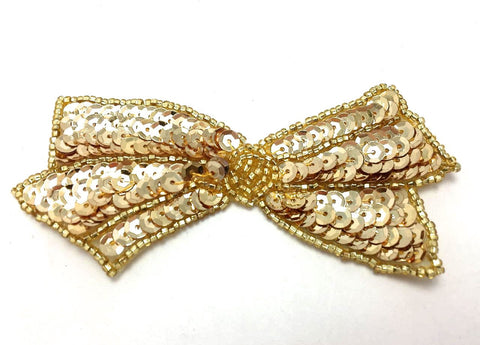 "Bow with Gold Sequins and Beads 2"" x 4"""