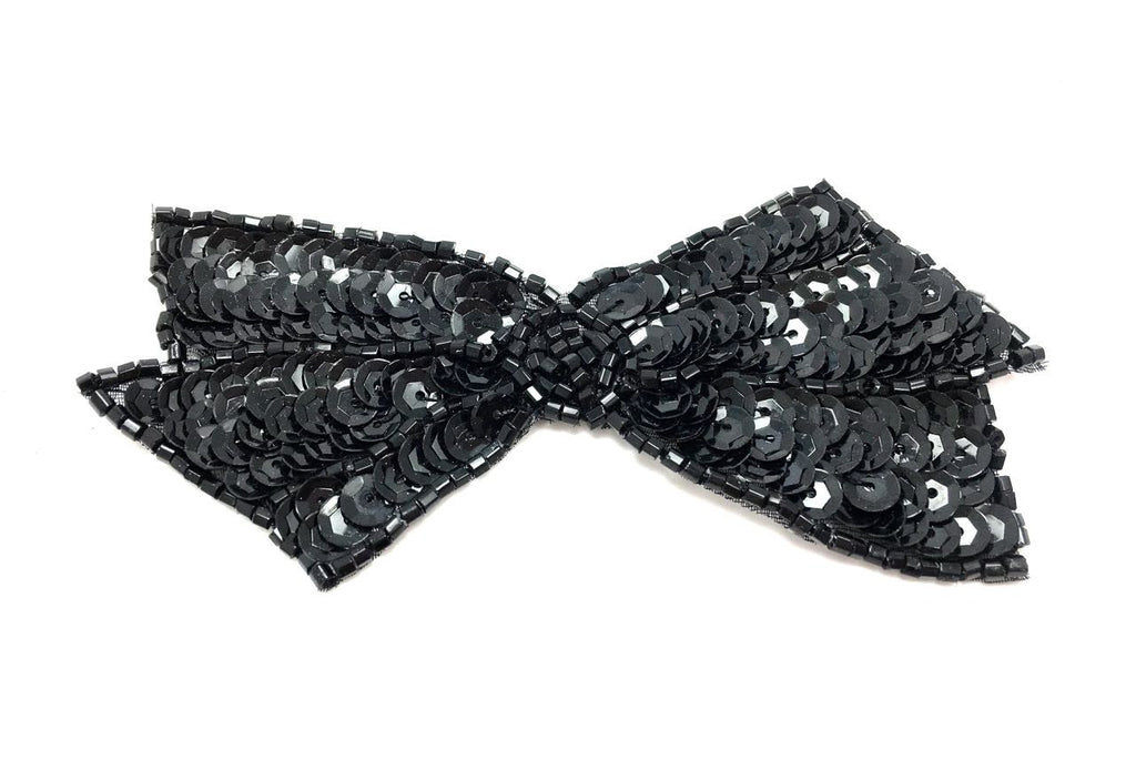 "Bow with Black Sequins and Beads 2"" x 4"""