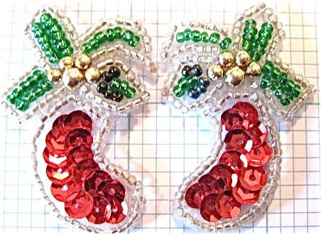 "Christmas Stockings Pair with Beads 1.75"" X 1"""