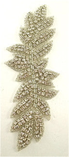 "Designer Motif Leaf with Multi Rhinestones and Silver Beads  7"" x 2.75"""