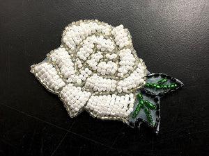 "Rose,  White, All Beads  2"" x 3"""