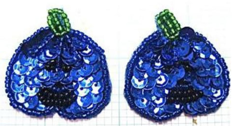 "Halloween Pumpkin Pair with Blue Sequins 1"" x 1"""