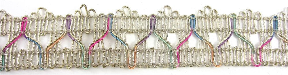 "Trim with Multicolored Threads and Bullion Silver Thread 1.5 "" Sold by the Yard"