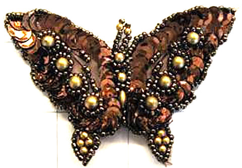 "Butterfly Bronze Sequins and Gold Beads 2.5"" x 3.5"""
