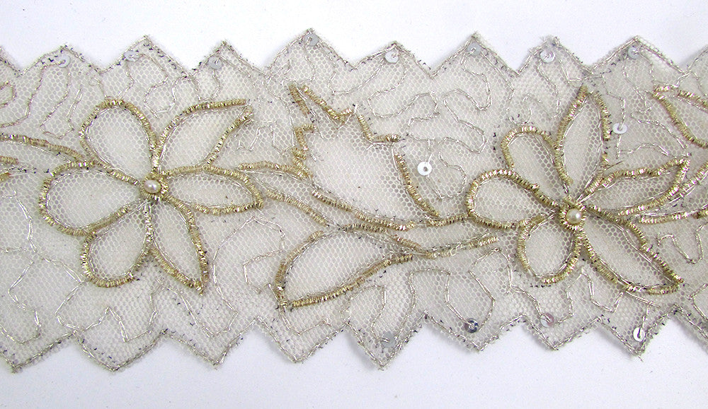 "Trim with Bullion Thread Flower Pattern On Netting 3"" wide"