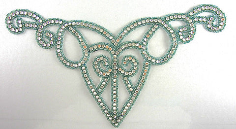 "Designer Motif with Mint Green Beads Surrounding Mega Rhinestones 11"" x 7"""
