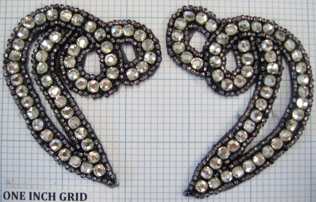 "Designer Pair with Bronze Beads and Rhinestones 3"" x 2.5"""