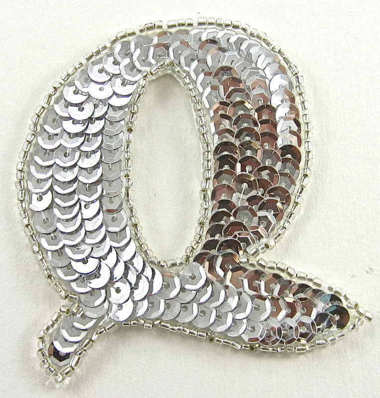 Letter Q with Silver Sequins and Beads 2.5
