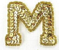 "Load image into Gallery viewer, Letter M with Gold Sequins and Beads 2"" x 2.25"""