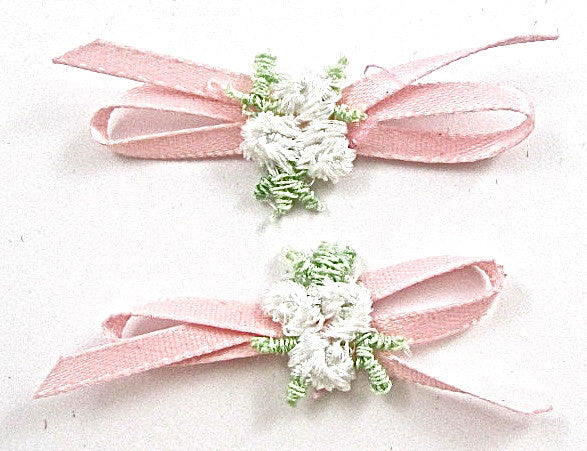 Flowers Pink Pair with White and Green 2""