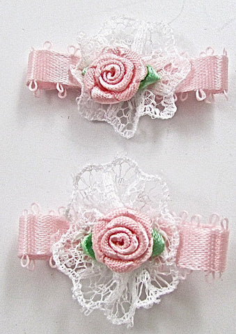 Flower Pink with white Lace Set of Two 1.25""