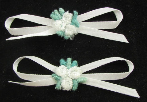 "Flower Set of 2 White Green Embroidery with Ribbon Bow 2"" x 1"""