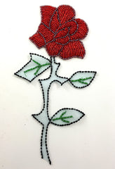 "Flower with Red Beads with or without Stem 8"" x 3.5"""