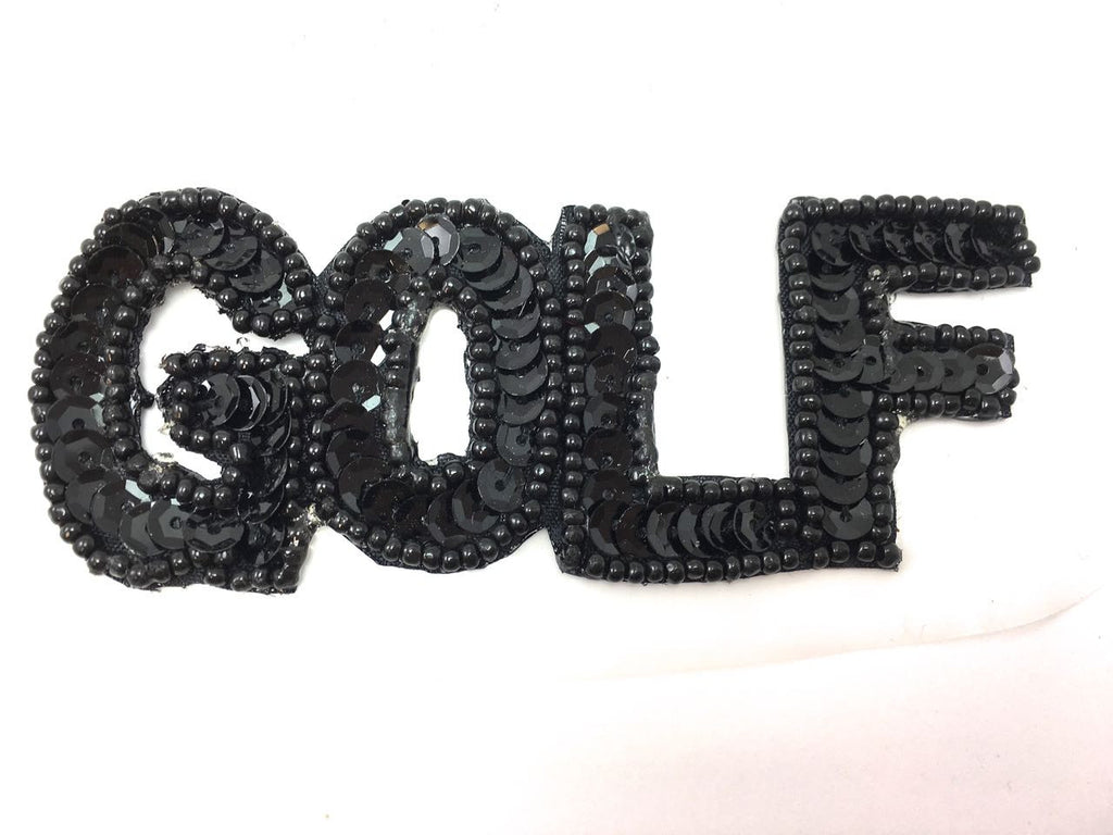 "Golf Word Spelled out in Black Sequins 1.5"" x 4"""