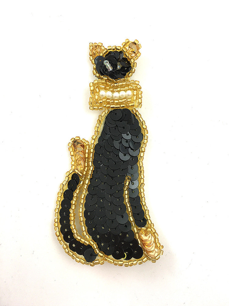 Cat with Black Sequins, Gold Beads and Pearl Inlay Bow 3.75 X 1.75""