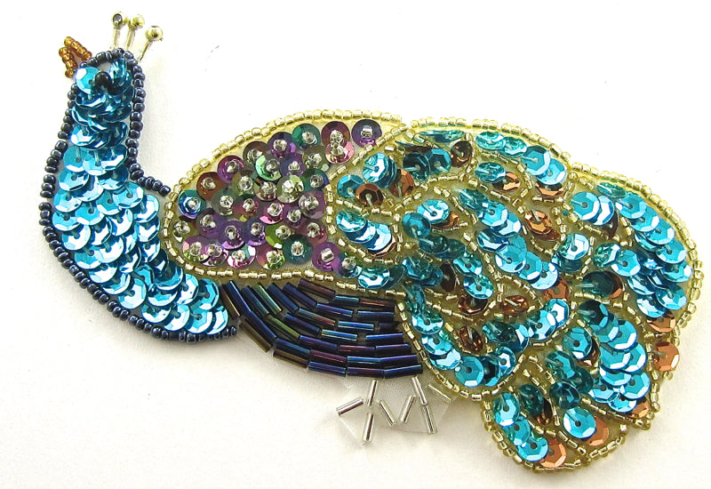 "Peacock with MultiColored Turquoise Sequins and Beads 5"" x 2.5"""