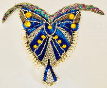 "Load image into Gallery viewer, Designer Motif Bodice with Blue Sequins and Gold Beads 10.5"" x 9"""