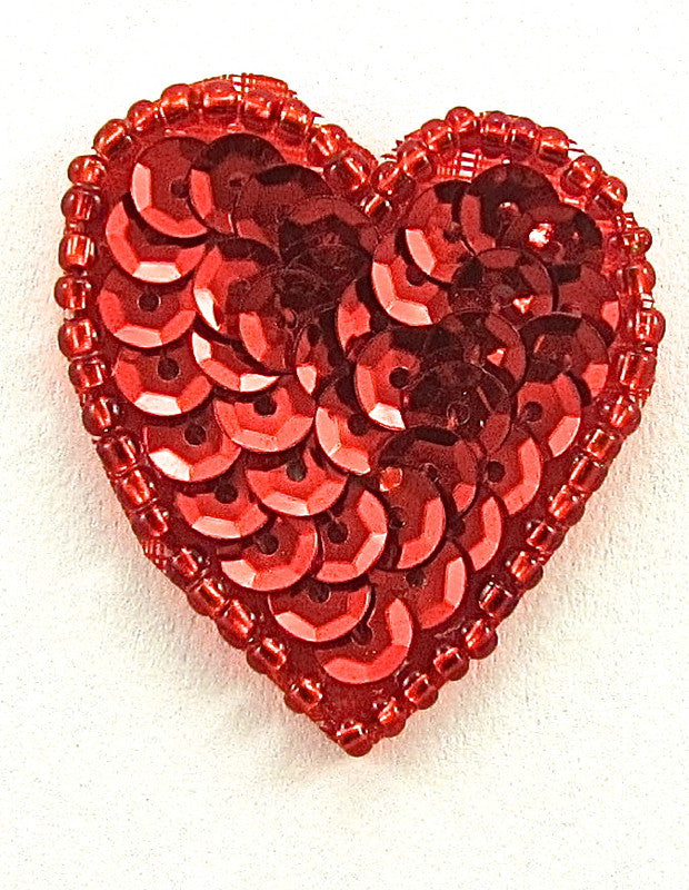 "Heart with Red Sequins and Beads  1.25"" x 1.25"""