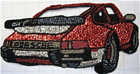 "Porsche with Red Silver and Black Sequins and Beads 10"" x 5"""