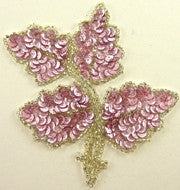 "Leaf with Medium Pink Sequins Silver Beads 5"" x 4"""