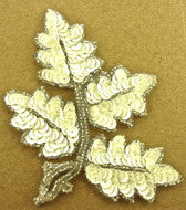 "Leaf with China White Sequins/silver Beads 5"" x 4"""