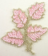 "Leaf with Powder Pink Sequins/Silver Beads 5"" x 4"""